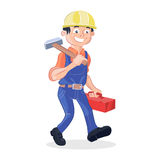 Worker holding a hummer and a box tools. Vector illustration of a worker holding a big hummer and a red box tools Royalty Free Stock Photography