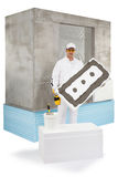 Worker holding an insulation panel Stock Photos
