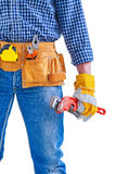 Worker holding monkey wrench in hand very close up Royalty Free Stock Photography