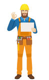 Worker holding a a paper and showing a okay hand sign Stock Images