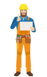 Worker holding a a paper and showing thumb up Royalty Free Stock Image