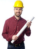 Worker holding papers project in hands Stock Photos