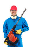 Worker holding a power drill Royalty Free Stock Images