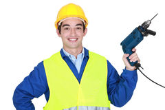 Worker holding a power tool Royalty Free Stock Photography