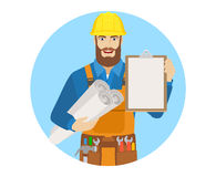 Worker holding the project plans and clipboard Royalty Free Stock Photos