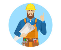 Worker holding the project plans and pointing up Royalty Free Stock Photography