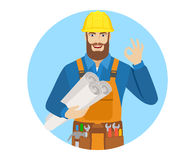 Worker holding the project plans and showing a okay hand sign Royalty Free Stock Photo