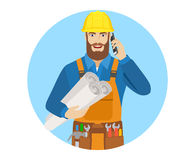 Worker holding the project plans and talking on the mobile phone Stock Photography