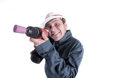 Worker holding screw gun isolated on white background Royalty Free Stock Photo