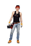 Worker holding toolbelt Stock Photo