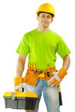 Worker holding toolbox Royalty Free Stock Images