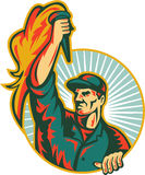 Worker Holding Up Flaming Torch Circle Retro Royalty Free Stock Image