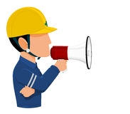 Worker holds a megaphone. Icon of Industrial worker is announcing on transparent background Stock Photo