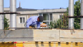 Worker home roof construction site Royalty Free Stock Photo