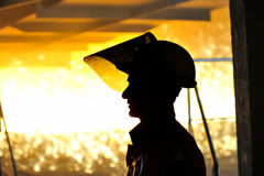 Worker with hot steel. Inside of plant Stock Images