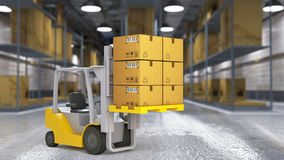 A worker in a huge distribution warehouse with high shelves Royalty Free Stock Image