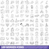 100 worker icons set, outline style. 100 worker icons set in outline style for any design vector illustration Royalty Free Stock Photography