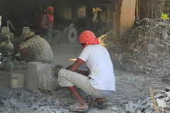 Worker at Idol making factory, Mahabalipuram, India Stock Photography
