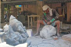 Worker at Idol making factory, Mahabalipuram, India Royalty Free Stock Photography