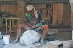 Worker at Idol making factory, Mahabalipuram, India Royalty Free Stock Images