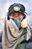 Worker at Ijen crater in East-Java, Indonesia Royalty Free Stock Image