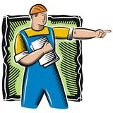 Worker Illustration. Illustration of a worker, holding blueprints Royalty Free Stock Photography