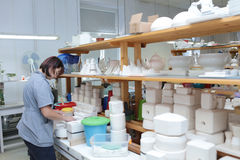 Worker in Imperial porcelain manufactory, St. Petersburg, Russia Royalty Free Stock Photography