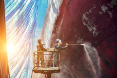 Free Worker In Shipyard By Washing And Cleaning. Stock Photo - 150802320
