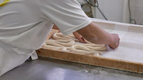 Worker in industrial bakery rolling and preparing pretzels stock video