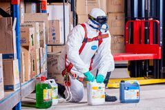 Worker with industrial chemicals