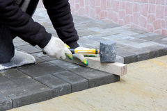 Worker installs paving slabs Royalty Free Stock Image