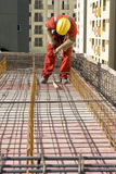 Worker Installs Rebar - Vertical Stock Images