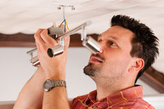 Free Worker Is Installing A Luster Stock Image - 20882851
