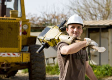 Worker with jackhammer Stock Photo