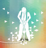 Worker with a jackhammer on polygonal background Royalty Free Stock Photography
