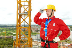 Worker joiner at building site Royalty Free Stock Images