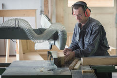 Worker in joinery Royalty Free Stock Photos