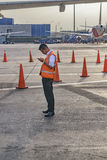 Worker at Jorge Chavez Airport, Lima, Peru Stock Image