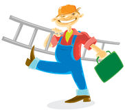 Worker with ladder. Worker in helmet with tools and ladder. Vector illustration Stock Photo