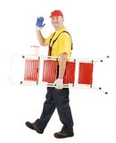 Worker with ladder smiling. Stock Photography