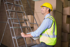 Worker on ladder in warehouse Stock Photo