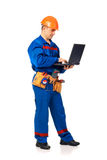 Worker for laptop Royalty Free Stock Images