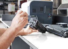 Worker laser printer Royalty Free Stock Photo
