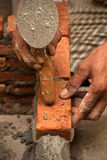 Worker laying brick Royalty Free Stock Photo