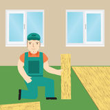 Worker laying laminate. Flat icon. Vector Royalty Free Stock Image
