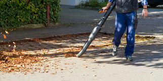 Worker with leaf blower Royalty Free Stock Photography
