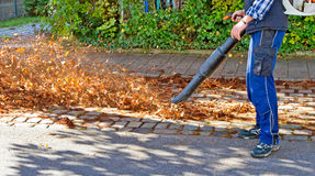Worker with leaf blower Stock Photo