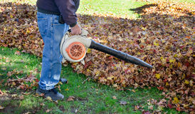Worker with leaf blower Stock Image