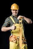 Worker with level tool Stock Photos