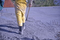 Worker Levelling Concrete Royalty Free Stock Photo